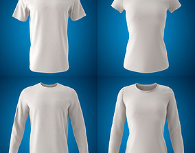 Men and Women Round Neck T-shirt 3D model