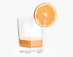 3D Orange juice and straw in a rocks glass