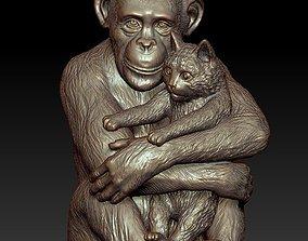 Sculpture Chimpanzee with cat 50cm 3D print model