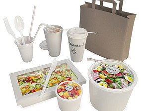 Salads And Packaging 3D