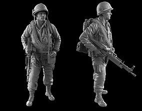 USA soldier with machine gun 1960 3D printable model