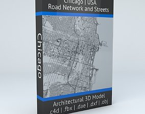 3D Chicago Road Network and Streets