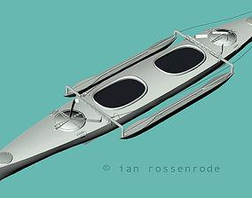 Aluminium canoe kyak 3D model