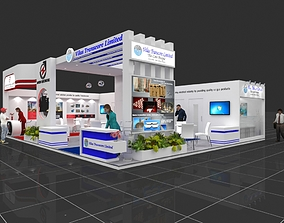 Exhibition stall 3d model 12x10mtr 2 sides open Electric