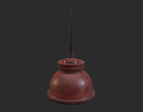 Vintage Oilcan Red painted Old Rusty PBR 3D model