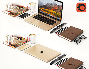 3D model Workplace Gold MacBook