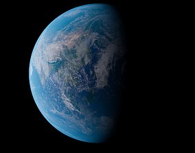 3D asset low-poly PBR Earth