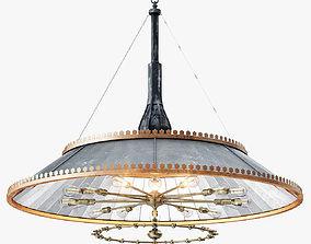 Grand 1800s Wheeler Mirrored Lamp 3D model