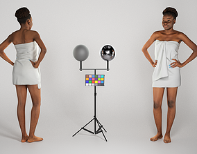 Young african woman wrapped in white towel 235 3D model