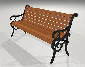 Park Bench - Wood and Cast Iron exterior 3D