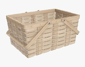 Wicker basket picnic with handles light brown 3D