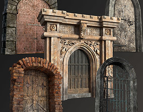 Five Medieval Doors with Arches 3D model