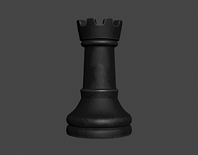 3D PBR CHES-006 Chess Rook Black