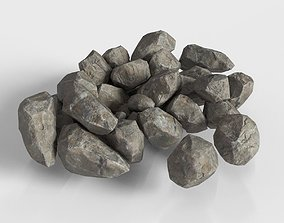 3D asset realtime Stone Rock set Unreal