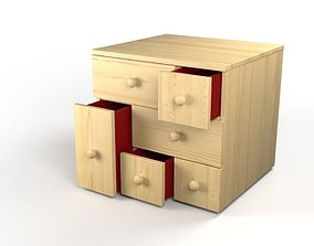 3D model chest of 6 drawers pine