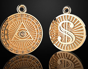 3D printable model pendant dollar sign 18d