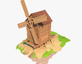 Cartoon wooden windmill 3D model