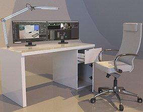 3D model Ikea Malm Desktop Set
