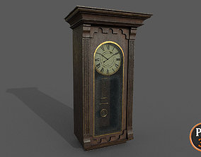 Old Clock wall 01A 3D model low-poly