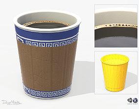 Paper Coffe Cup Low Poly PBR 3D asset