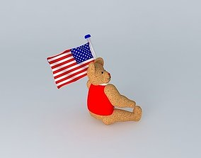 3D model Teddy Bear with American flag