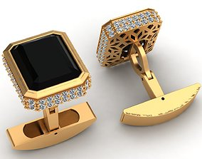 Onyx Fashion Diamond Gold Cufflinks 3D print model