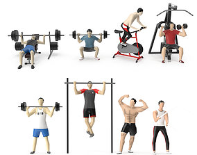 Low Poly People Textured - Fitness and Gym 3D model