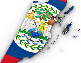 3d Political Map of Belize other