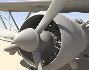 Fiat CR42 Falco Fighter Bi-Plane 3D model