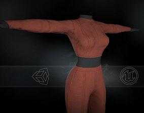 Brown Women Outfit 3D asset