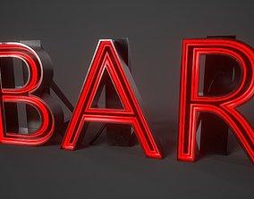 3D asset Bar Neon sign PBR