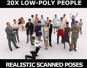 3D asset 20x LOW POLY ELEGANT CASUAL SUMMER PEOPLE CROWD
