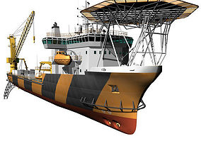 Pipe laying ship 3D model