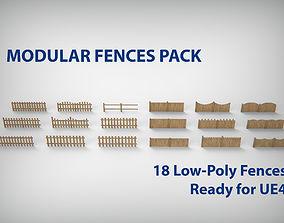 modular 3D model Modular Wood Fence Set