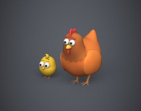3D model VR / AR ready Hen and Chicken Stylized