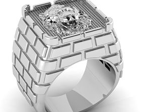 3D printable model Male signet ring castle design with 1