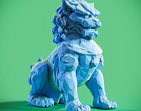Low poly Chinese lion guardian Papercraft 3D print model