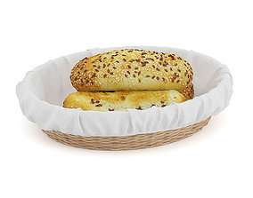 3D model Buns with Sesame Seeds in Wicker Basket