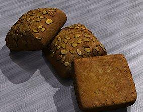 Small pumpkin seed bread 3D model
