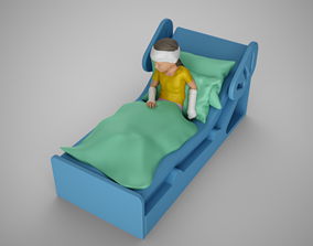 Sick Girl in Bed 3D print model