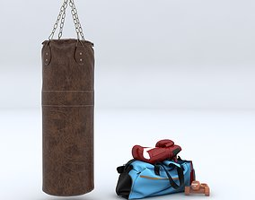 bag Punch Bag and Boxing Gloves 3D