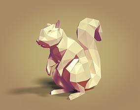 Low Poly Cartoon Squirrel 3D asset