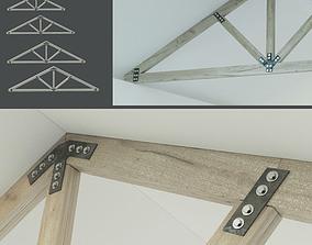 3D asset A set of wooden trusses