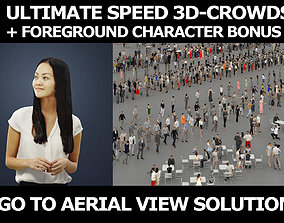 3d crowds and a foreground Passion asian business woman