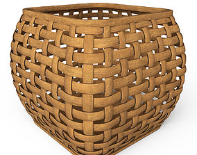 Wicker wooden basket 3D model
