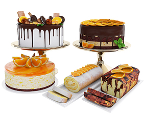 3D model Orange cake collection 4