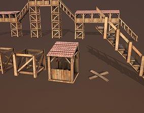 editable wooden tower 3D model