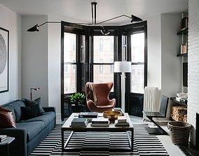 3D candinavian Living Room Interior Scene for Render