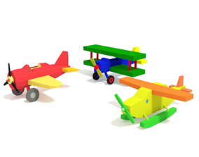 3D model Low Poly Cartoon Toy Airplanes Pack