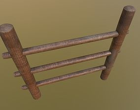Wooden-Fence Wood Fence Modular PBR Low-Poly Game 3D model